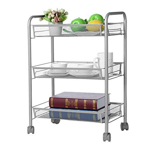 Beacaden 3-Tier Mesh Wire Basket Rolling Cart Kitchen Storage Cart with Wheels Shelving