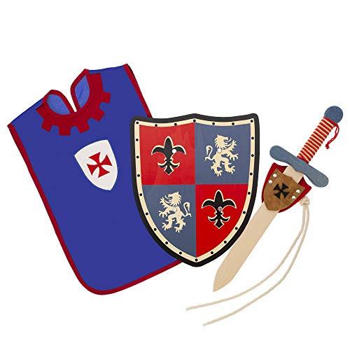 HERALDUM Espada y Escudo para Niños de Madera, Caballero Medieval Templario,Incluye Colgador y Peto,Armas de Juguete para Niños.