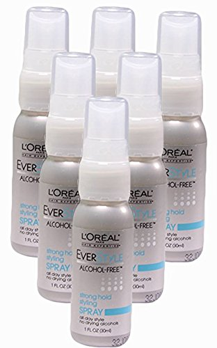 L'Oreal Paris EverStyle Strong Hold Styling Spray, Alcohol-Free, 1 Oz. (travel size) Pack of 5