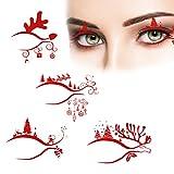 Osuner Kit de Maquillaje de Ojos Pegatinas de Sombra de Ojos Forro de Sombra de Ojos de Halloween Pegatinas de Tatuaje Temporal Delineador de Ojos Decorativo para la Etapa de la Mascarada del Partido