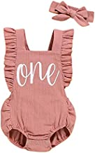 Shalofer Baby Girls One Year Old Outfits First Birthday Romper Cute Backless Ruffles Jumpsuit with Headband (Pink,12-18 Months)