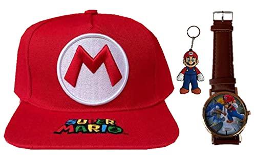 YUMEIJING Reloj Hat Super Mario Odyssey Sombrero Mario Cosplay Sombrero Mario Gorras Adultos Niños Anime Cosplay Cap