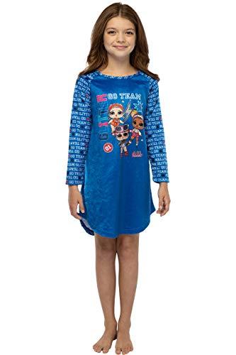 LOL Surprise! Girls Go Team Glam Glitter Raglan Nightgown Kids Childrens Sleep Shirt (M, 7/8)