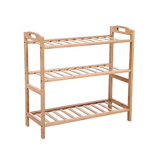 Kuingbhn Zapatero de 3 niveles de almacenamiento de zapatos estantes de gabinete de madera soporte de casa organizador de bambú para entrada sala de estar