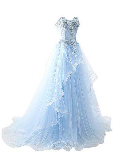 Maricopyjam Women's Applique Sweetheart Sheer Waist Fishbone Symmetrical Peplum Long Prom Dress Light Blue US4