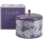 LA JOLIE MUSE Lavender Aromatherapy Scented Candle, 13Oz Large Tin Lavender Essential Oil Stress Relief Candles, 2 Wicks Natural Soy Wax Relaxing Candle for Bath Spa, Relaxation Gift