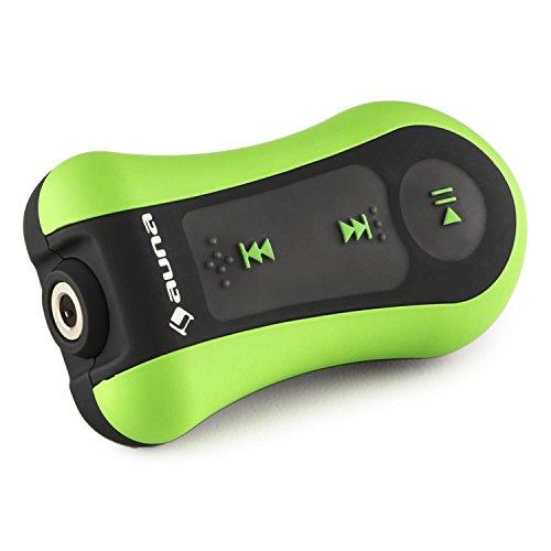 auna Hydro 8 wasserdichter MP3-Player (8 GB, 10-13 Stunden Betriebsdauer, IPX-8 Schutzklasse, für Schwimmen + Tauchen + Surfen + Snowboarden + Wandern, Befestigungsclip, Akku) schwarz-grün