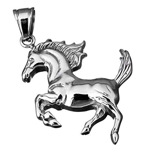 (M) ペンダント トップ メンズ ランニングホース 馬 チョーカー ネックレス 首飾り シルバー サージカルステンレス316L チャーム パーツ 金属部品 リアル 立体 エンブレム