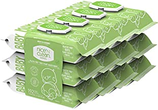 Nice 'N Clean Scented Baby Wipes, Suitable for Sensitive Skin on Hands, Face, Bottom, Made w/Plant-Based Fibers, Green Tea & Cucumber, 64 Count (Pack of 12)
