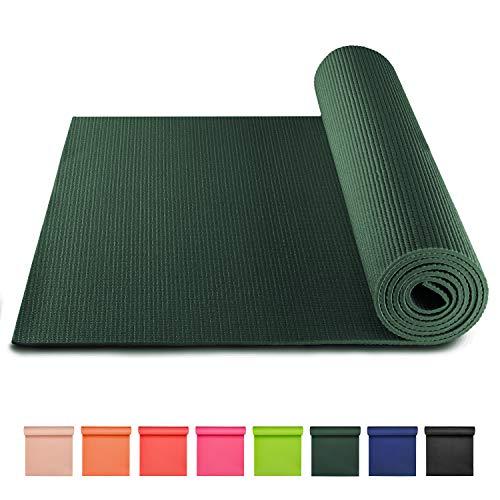 BODYMATE Yogamatte Universal Midnight-Green - Größe 183x61cm – Dicke 5mm – Schadstoffgeprüft frei von Phthalaten, BPA, Schwermetallen – Trainings-Matte für Fitness, Yoga, Pilates, Functional