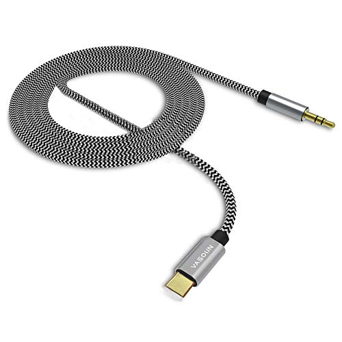 VASOUN USB C to 3.5mm Aux Cable(3.3FT), USB C to 3.5mm Male Headphone Audio Aux USB c Adapter, Type C Adapter to Car Digital Audio Cable Compatible with iPad Pro 2018, Huawei P30 Pro/P20, Pixel 3/2