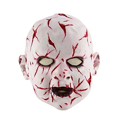 WWWL Mscara de Halloween, ltex Halloween Bloody Baby Mask Disfraz Fiesta Fantasma Fantasma Mueca Mueca Mascarilla Cabeza Completa for Adultos Party Party Props (Color : Multi-Colored, Size : M)
