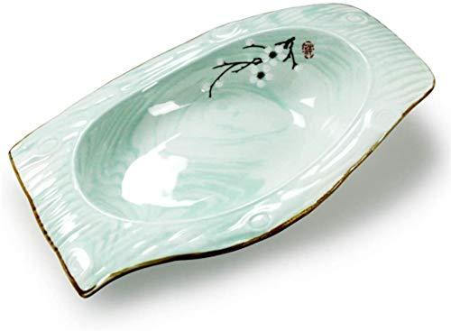 TREEECFCST Platos Vajilla Vintage Placa de cerámica Western Steak Plate Desayuno Almuerzo de la Placa cerámica de Las Placas de Cocina Japonesa Placa Verde (Color : Green, Talla : 30cm*17.5cm)