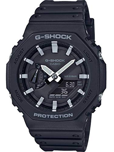 Casio Unisex Analog – Digital Quarz Uhr mit Kautschuk Armband GA-2100-1AER