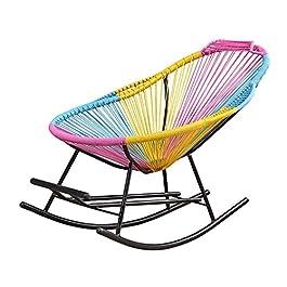 Fauteuil à bascule en rotin coloré inclinable meubles de jardin avec repose-pieds et accoudoirs pour enfants adultes…