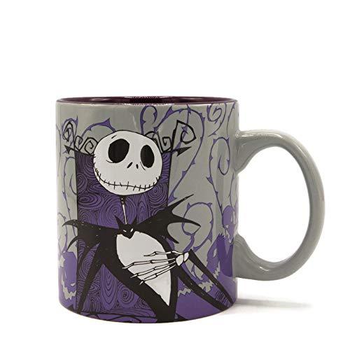 Silver Buffalo Nightmare Before Christmas Jack Skellington Ceramic Mug, 20 Oz, Purple Grey White Black