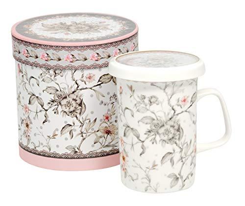 Duo Tee-Tasse Teebecher Set mit Sieb und Deckel Porzellan Kräuter-Teetasse Geschenk-Tasse Cup with Porcelain Infuser 300 ml Geschenkbox (Maja)