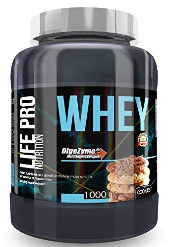 Life Pro Whey 1Kg   Suplemento Deportivo, 78% Proteína de Concentrado de Suero, Protege Tejidos, Anticatabolismo, Crecimiento Muscular y Facilita Períodos de Recuperación, Sabor Cookies ✅