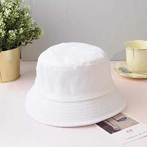 Sombrero de cubo plegable de verano Unisex para mujer, gorra de pesca de algodón con protección solar al aire libre, gorra de pesca para hombre, sombreros para prevenir el sol-White-1-Adult 58cm-60cm