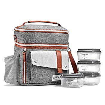 Foundry Wickenden Complete Lunch Bag Kit with Four Containers Insulated Soft Liner and Adjustable Strap for both Men and Women Steel Grey