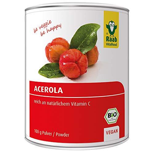 Raab Vitalfood Bio Acerola-Pulver, hochdosiert mit 17 % natürlichem Vitamin C, laborgeprüft, glutenfrei, vegan, Extrakt, Acerola-Kirsche, 100 g Dose