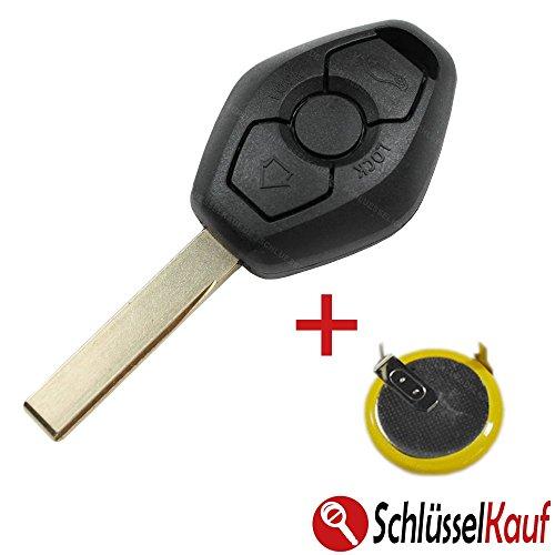 KONIKON Autoschlüssel Schlüssel Auto Rohling Fernbedienung Gehäuse Ersatz Set + LIR2025 Batterie Akku NEU passend für BMW E39 E46 E53 E60 E65 X5 HU92