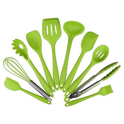 PPuujia Utensilios de cocina de silicona resistente al calor Utensilios de cocina antiadherentes para hornear utensilios de cocina (color: verde)