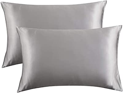 "Xymy Silk Satin Pillowcase for Hair and Skin Silver Gray Cool Slip Pillow Cases Queen Size Set of 2 Satin Pillow Covers with Envelope Closure (Silver Gray-Set of 2, 20""x30"")"