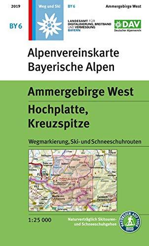 Ammergebirge West, Hochplatte, Kreuzspitze: Wegmarkierung, Ski- und Schneeschuhrouten (Alpenvereinskarten)
