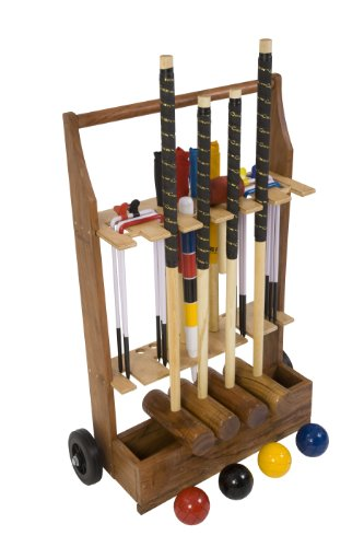 "Garden Croquet Set with Wooden Trolley - Contains 2 sizes of mallets, 2 x 34"" and 2 x 38"". The set also includes 4 wooden balls, 6 steel hoops, a hoop smasher, corner flags and a hardwood centre peg. All in a wooden storage trolley."
