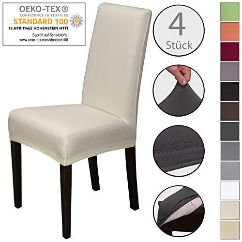 Staboos Stuhlhussen 4er Set aus 96% Baumwolle - Bi-elastische Stretch Stuhlüberzüge - Universal Stuhlbezug - Stuhlabdeckung waschbar & bügelfrei, Creme