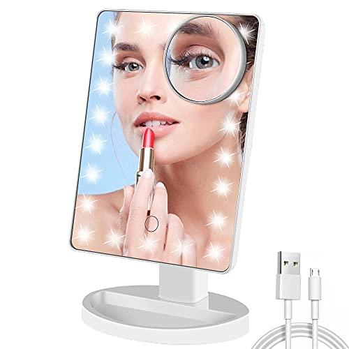 TRUSTLIFE Specchio per il Trucco a Rotazione Libera a 180 ° con 22 luci a LED Funzione di Ingrandimento 10X Dimmerabile al Tocco per la Rasatura del Trucco Cura del Viso Specchi Cosmetici