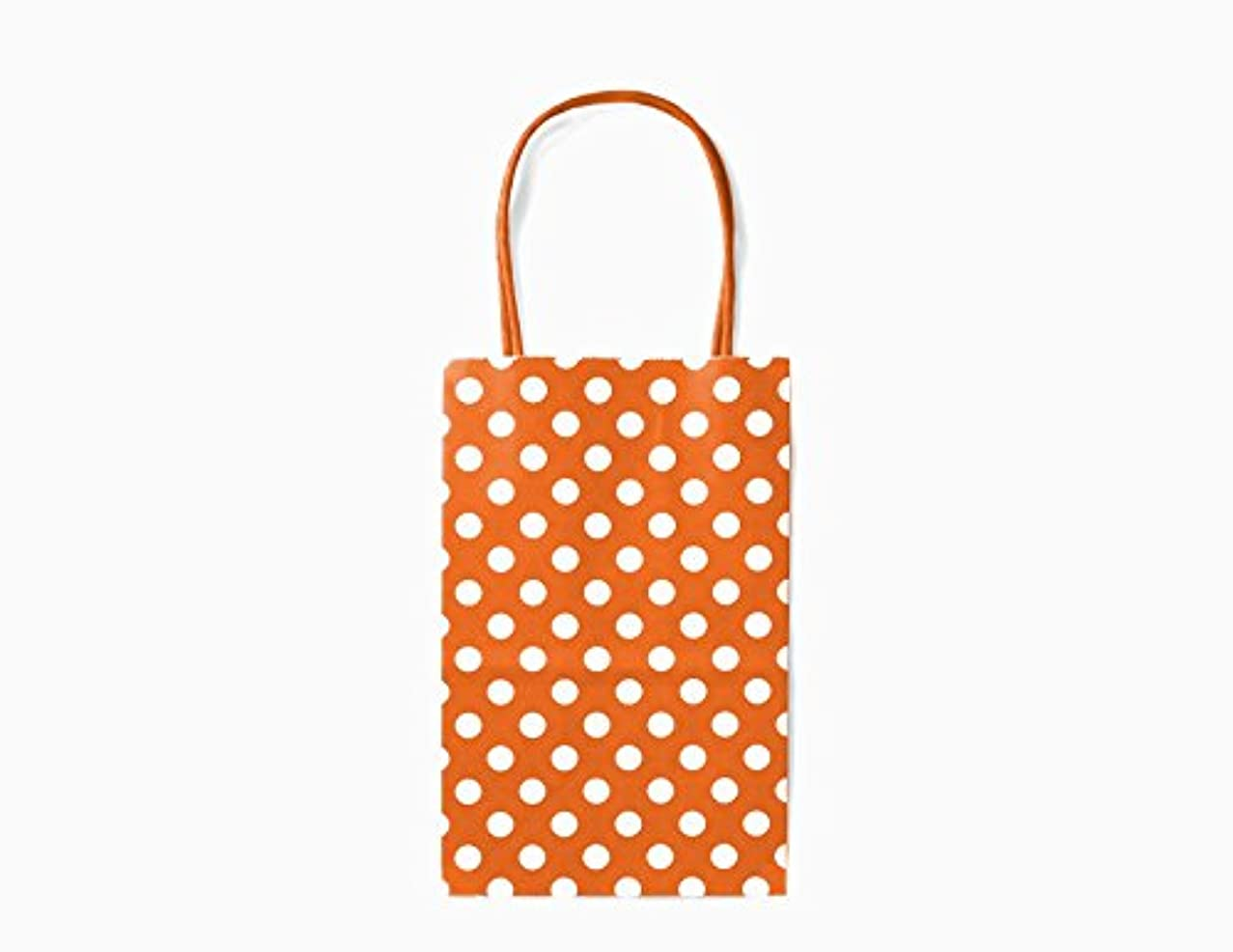12CT Small Orange Polka DOT Biodegradable, Food Safe Ink & Paper, Premium Quality Paper (Sturdy & Thicker), Kraft Bag with Colored Sturdy Handle (Small, P.Orange)