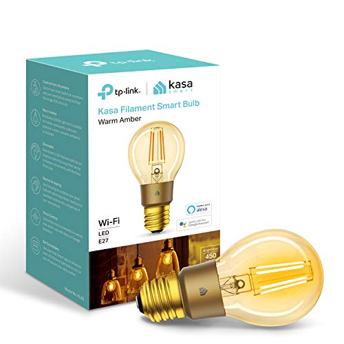 TP-Link Smart WiFi Filament Light Bulb, E27, 5W, Works with Amazon Alexa (Echo and Echo Dot), Google Home and IFTTT, Dimmable Warm Amber, No Hub Required [Energy Class A+]