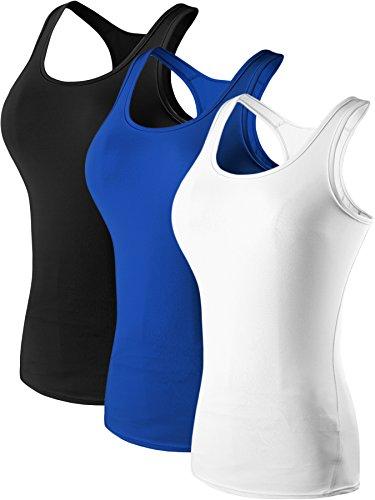 Neleus Women's 3 Pack Compression Athletic Tank Top for Yoga Running,Black,Blue,White,EU 2XL,US XL