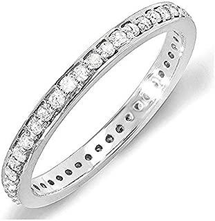 Dazzlingrock Collection 0.48 Carat (ctw) 14K Round Diamond Ladies Wedding Eternity Band Stackable Ring 1/2 CT, White Gold