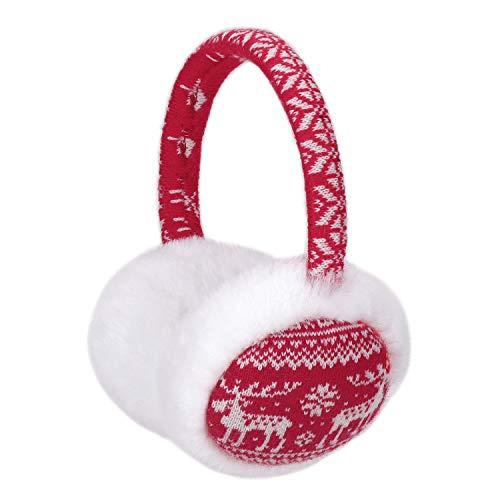 Sudawave Frauen Mädchen Winter Mode Einstellbare Kunstpelz Ohrenschützer Cartoon Ohrenwärmer (Rot Weiß Hirsch)