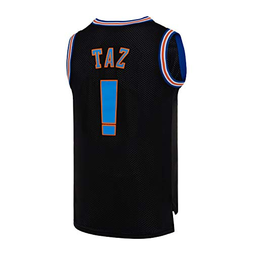 Mens TAZ Space Movie Jersey Basketball Jersey S-XXL White/Black (Black, Small)