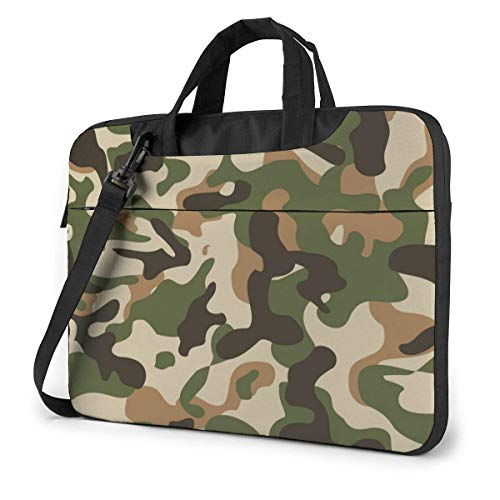 Ahdyr Green Camouflage Laptop Case 15.6 Inch Carrying Case with Strap