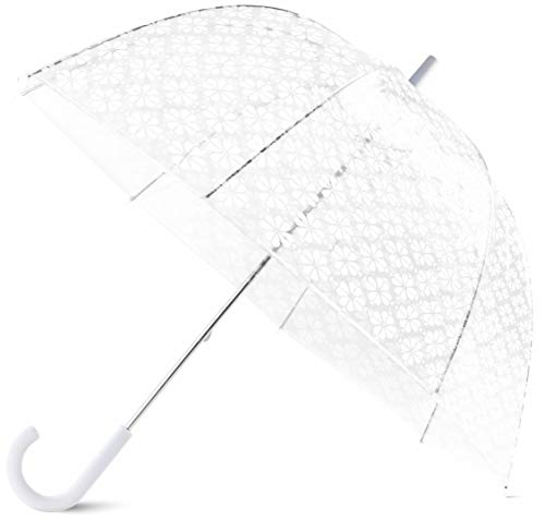 Kate Spade New York Clear Bubble Umbrella, Large Transparent Dome Umbrella, White Spade Flower