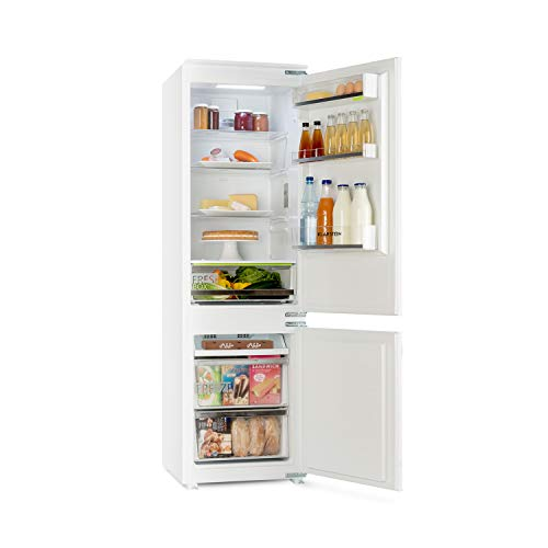 Klarstein CoolZone - Nevera combi para montar en la cocina, 3 alturas regulables de las bandejas de vidrio y cajón de verduras, 241 litros de volumen, 41 dB, Tecnología ZeroFrost, Blanco