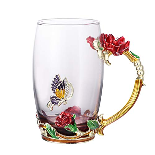 Cabilock Bleifreie Emaille Blume Glasbecher/Kaffeetasse/Teetasse mit Stahllöffel Tolle Geschenke für Frauen Frau Mutter Lehrer Freundin Freunde Geburtstag Mütter Valentinstag