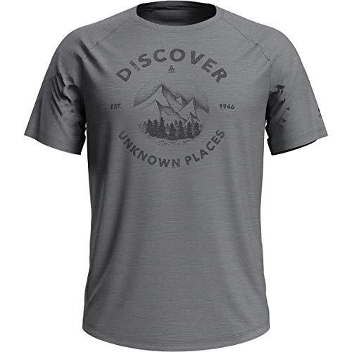 Odlo T-Shirt à col Rond pour Homme, Gris mélangé, SS20, S