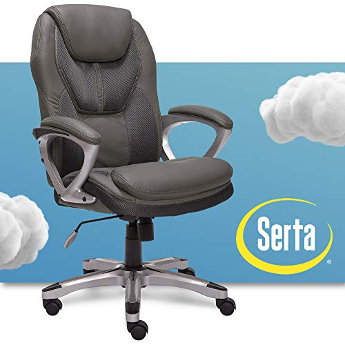 Serta Executive Office Padded Arms Adjustable Ergonomic Gaming Desk Chair with...