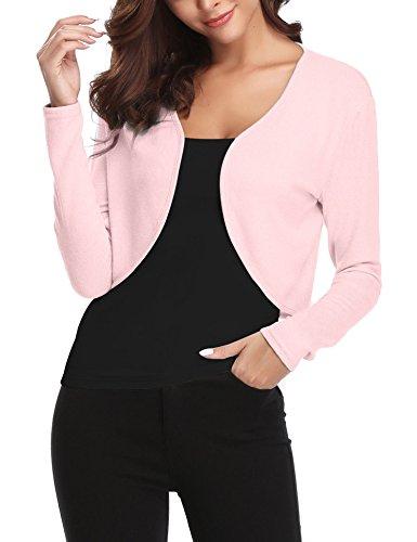 Abollria Damen Bolero Elegante Kurze Strickjacke Leicht Langarm Cardigan mit Knopf, 1-rosa, XL