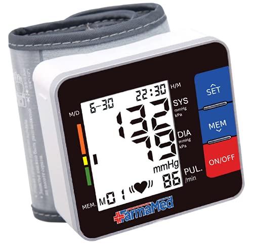 FARMAMED Tensiómetro de muñeca Eléctrico, Tensiómetro digital, Monitor de Presión Portátil para uso doméstico o externo, Pantalla LCD, Memoria hasta 180 mediciones, 2 Usuarios, Estuche rígido incluido