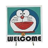 Agility Wall Mounting Home Decor Bedroom Kitchen Hanger Hat Bag Necklace Key Hand Towel Belt Wood 7.87' x 7.87' 2 Hooks Doraemon Welcome's Photo Base