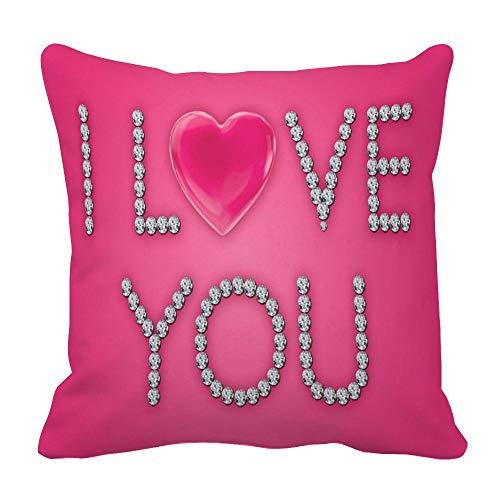 Perfecone Home Improvement - Funda de almohada (algodón, 55 x 55 cm), diseño de corazones rosas