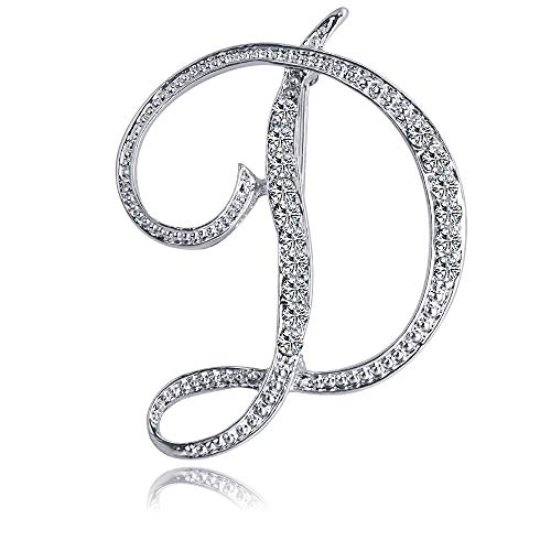 ETHOON Letter Brooch Pins Initial Rhinestone Brooch for Women Crafts Silvery D