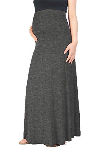 Beachcoco Women's Maternity High Waisted Fold Over Maxi Skirt (L, Charcoal)